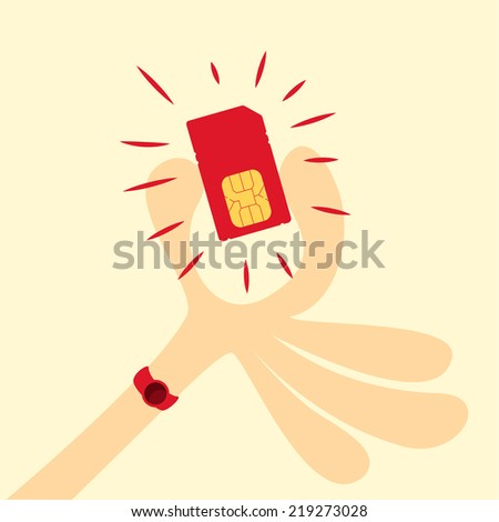 picking the sim card, Vector graphic - stock vector