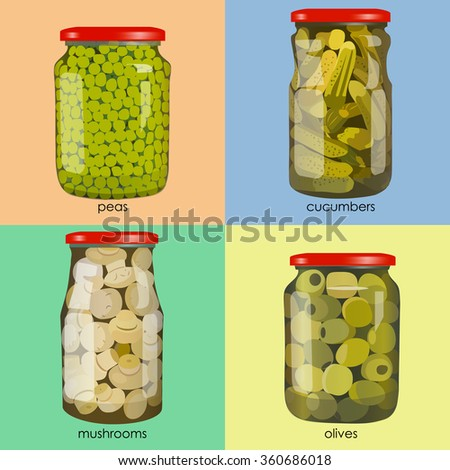 pickles set in jars. Pickled realistic vegetables. Peas, mushrooms, olives, cucumbers. Colorful Vector illustration.
