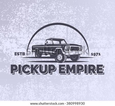 Pickup car vector emblem on grunge grey background. Offroad extreme SUV design elements, 4x4 vehicle illustration. - stock vector