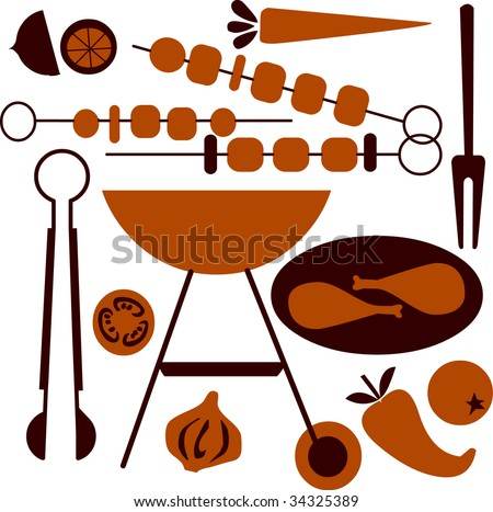 picnic and BBQ icons - stock vector
