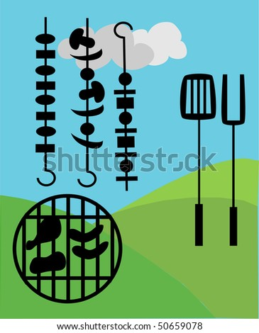 picnic and BBQ outside - stock vector