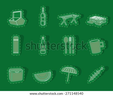 Picnic and holiday icons - vector icon set - stock vector