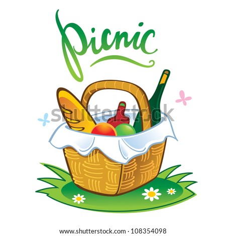 Picnic barbecue summer leisure vacations food in straw basket - stock vector