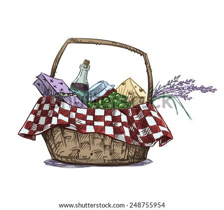 Picnic Basket Drawing Picnic Basket With Snack