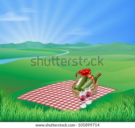 Picnic blanket and red wine in natural landscape. Romantic scene - stock vector