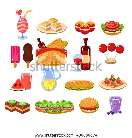 Picnic Food And Drink Set Cartoon Flat Vector Isolated Illustration On White Background - stock vector