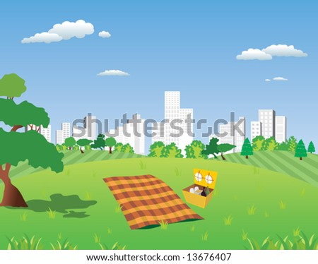 picnic go out of town - stock vector