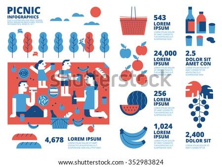 Picnic  Infographics - stock vector