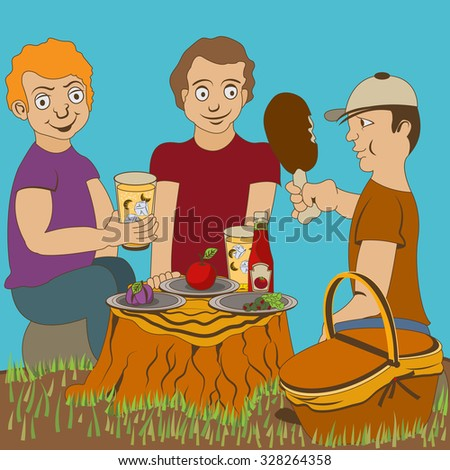 picnic lunch - stock vector