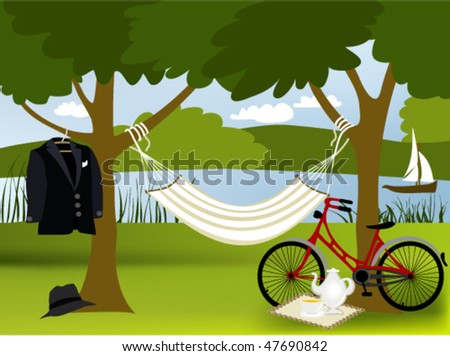 Picnic Place Picnic Place Stock Vector