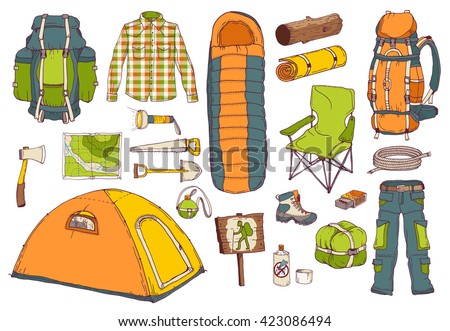 picnic, travel, camping objects set; hand drawn vector illustration in sketch style; hiking colorful elements: tent, axe, sleeping bag, backpack, map, mat, saw, shovel, flask, clothes, rope, matchbox - stock vector