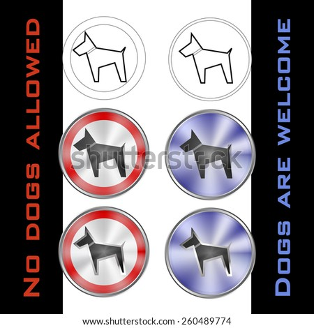 pictogram - allowed and not allowed dog, black dog in round metal bases in white, red and blue - stock vector