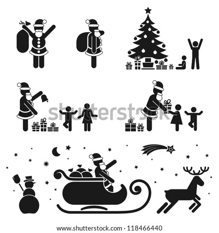PICTOGRAM BLACK & WHITE ICON SET - CHRISTMAS SEASON - stock vector