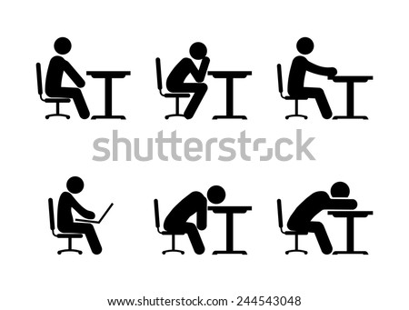 Pictogram Businessman or Student Working on Computer, Thinking and Tiered. Vector illustration - stock vector
