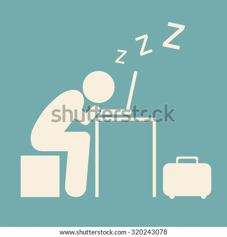 Pictogram Businessman work Sleeping on Computer isolated on blue sky background. Vector illustration