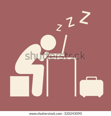 Pictogram Businessman work Sleeping on Computer isolated on red background. Vector illustration