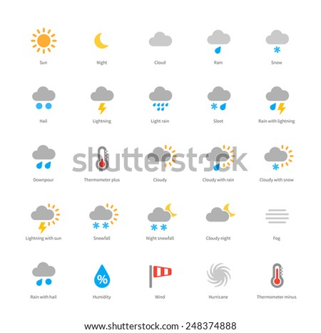 Pictogram collection of meteorology and weather, sun, moon, fog, rain, snow, climate for weather forecast website and hydrometcenter. Flat design style colored icons set. Isolated on white background. - stock vector