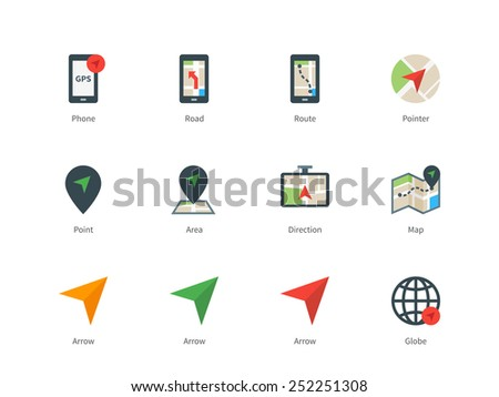 Pictogram collection of navigation and direction, phone with GPS, road, route, map and arrows. Flat design style color icon set. Isolated on white background. - stock vector