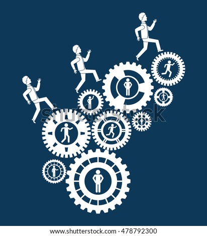 pictogram gears teamwork support collaborative cooperation work icon set. Blue design. Vector illustration