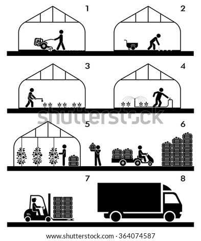 Pictogram icon set presenting different stages in agricultural process and gardening. Plowing, sowing, watering, picking, palletisation and warehousing, transporting.