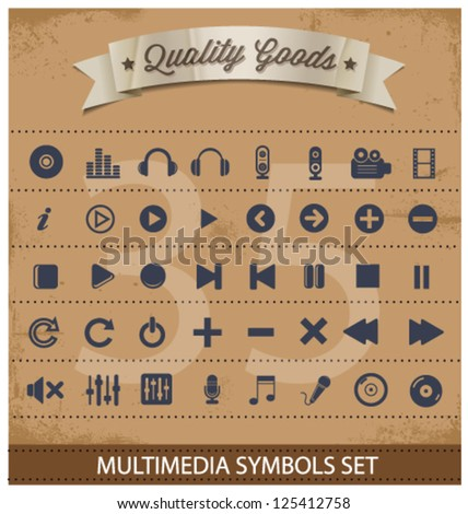 pictogram multimedia symbols big set isolated - stock vector