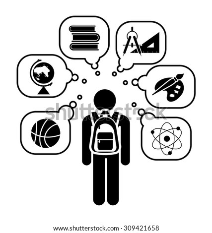 Pictogram of a child going learning different school subjects. School days. Back to school.