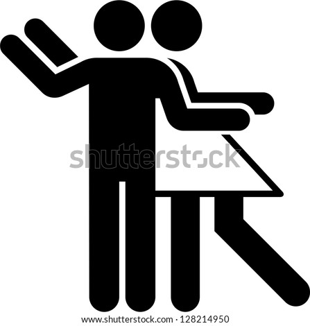 Pictogram of a couple dancing - stock vector
