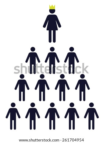 pictogram of a female figure in a crown and plenty of small male figures - stock vector