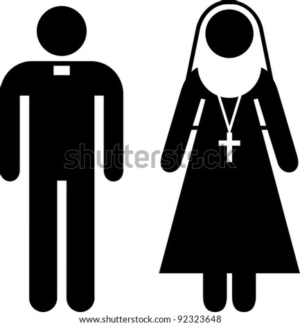 Pictogram of a priest and a nun - stock vector