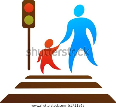Illustration of car stopped at pedestrian crossing - Pedestrian Crossing Green Stock Photos Images Amp Pictures