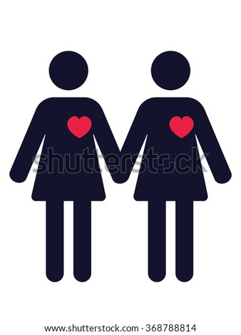 pictogram of two women in love holding hands - stock vector