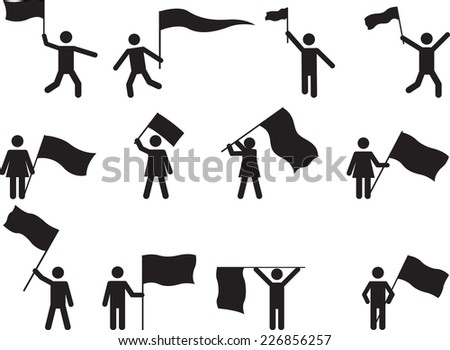 Pictogram people carrying flags illustrated on white