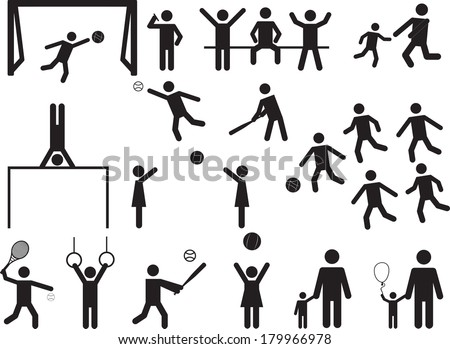 Pictogram people in park with kids and sport activity illustrated on white