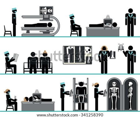 Pictogram set of radiology department - highly skilled radiologists with modern x-ray equipment - stock vector