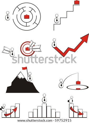 Pictogrammes on a business theme: a labyrinth, a career ladder, the broken curve drawing, the success and defeat diagramme, a target - stock vector