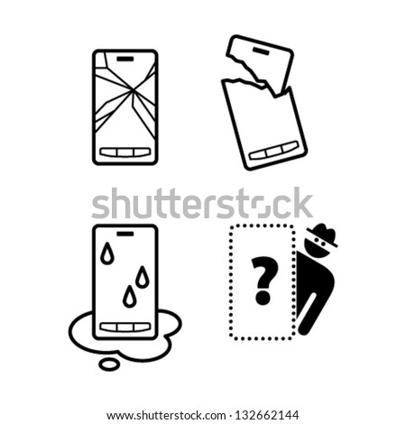 Pictograms / icons of mobile phone damage: cracked screen, broken case, water damage, and theft/loss. - stock vector