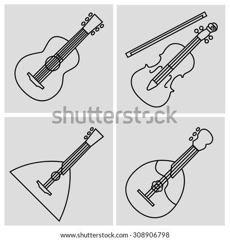 Pictograms of string musical instruments