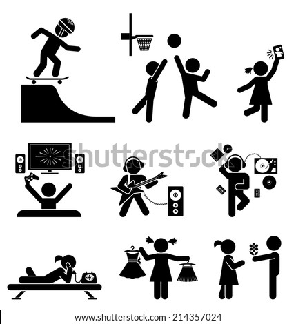 Pictograms of teenagers having fun. Vector set of flat icons. - stock vector