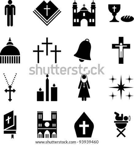 Pictograms of the Catholic religion - stock vector