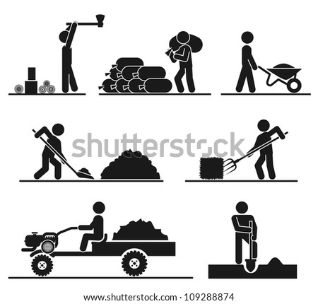 Pictograms representing people doing field and backyard hard work - stock vector