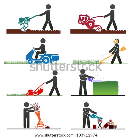 Pictograms representing people doing field and backyard jobs with machines - stock vector