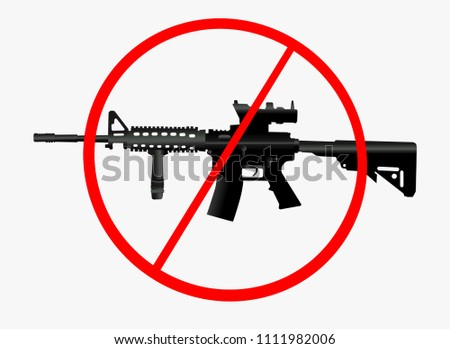 Pictograph and icon - Ban and prohibition to carry and shoot with heavy weapons like machine guns. Negativity against arms and rifles leading to limitation and restriction