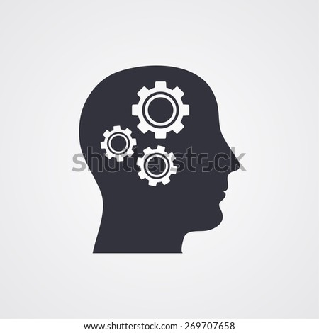 Pictograph of gear in head icon. Vector  Eps 10  - stock vector