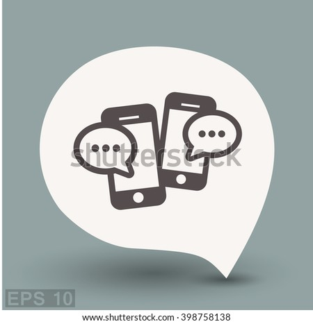 Pictograph of message or chat on smartphone. Vector concept illustration for design. Eps 10 - stock vector
