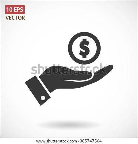 Pictograph of money in hand. Vector icon 10 EPS - stock vector