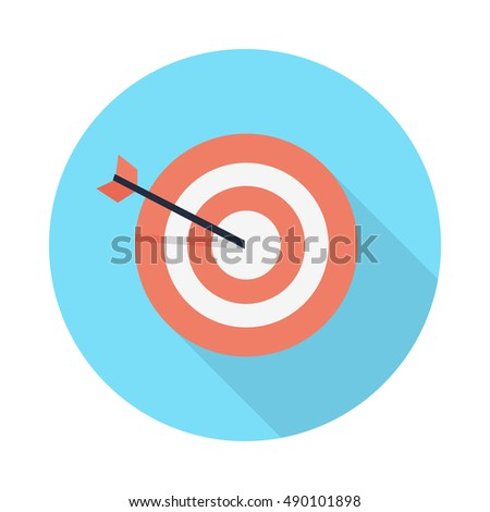 Pictograph target icon isolated on white. Strategy, business, office and marketing symbol. Editable items in flat style for web design. Part of series of accessories for work in office. Vector