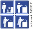 Pictograph - washing dishes, male - stock photo