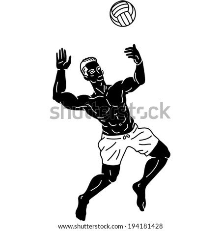 pictographic detailed icon volley-ball man pictogram