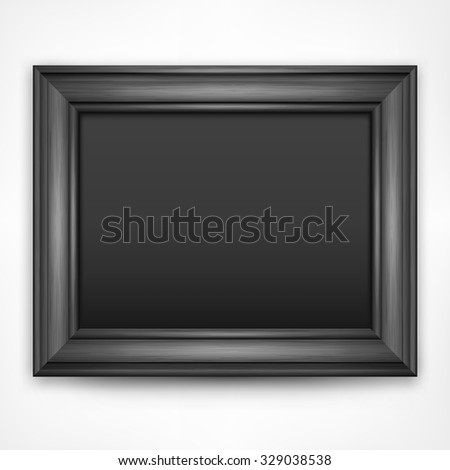 Picture black wooden frame isolated on white, vector illustration - stock vector