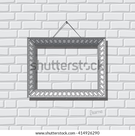 Picture frame flat vector. Photo frame on brick wall. Painting frame. - stock vector